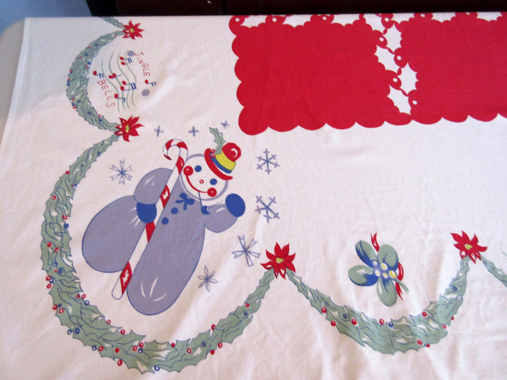 HTF Cartoon Christmas Reindeer Santa CUTTER Vintage Printed Tablecloth (78 X 61)