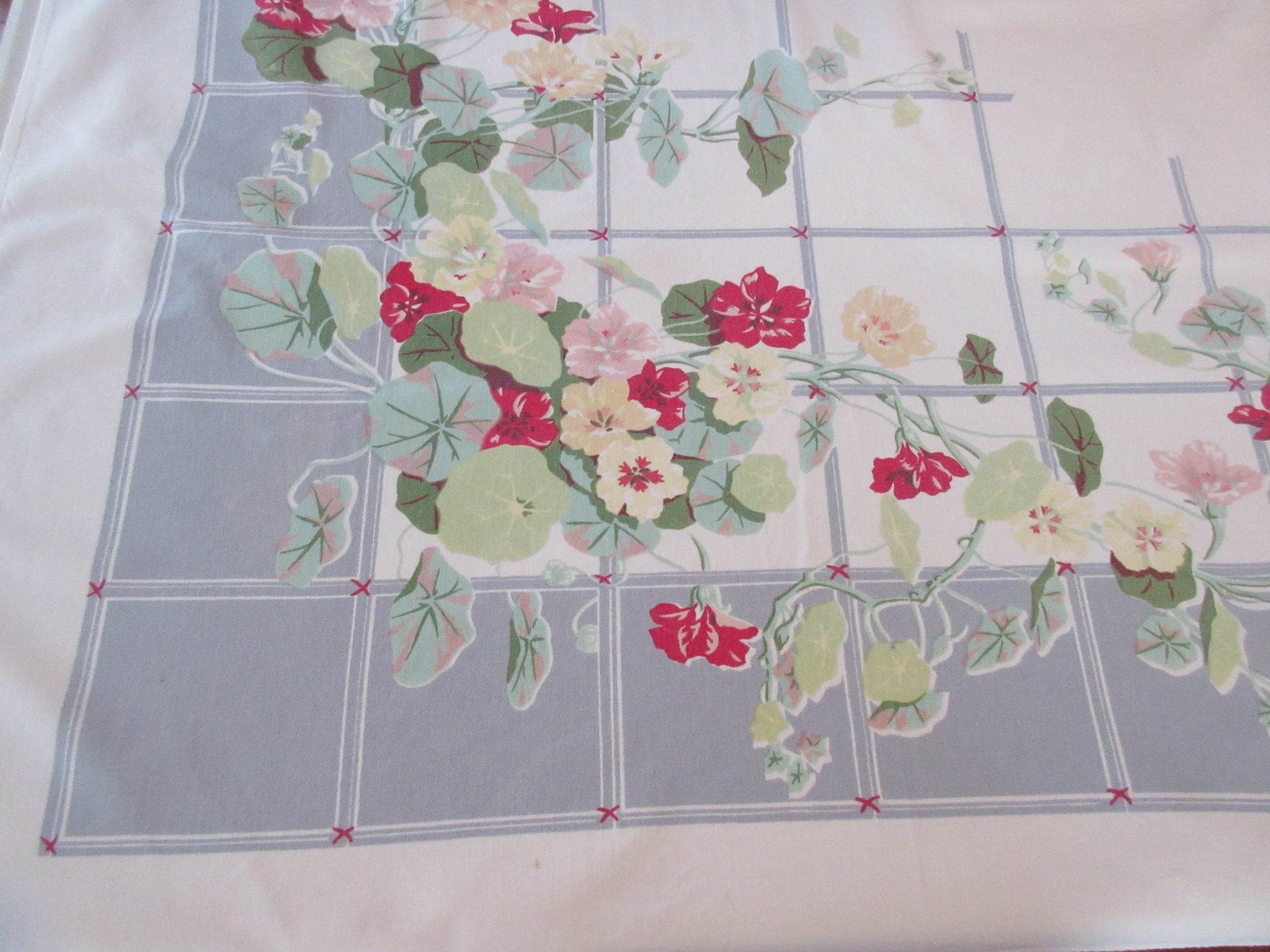 Faded Nasturtiums on Gray Floral Vintage Printed Tablecloth (52 X 46)