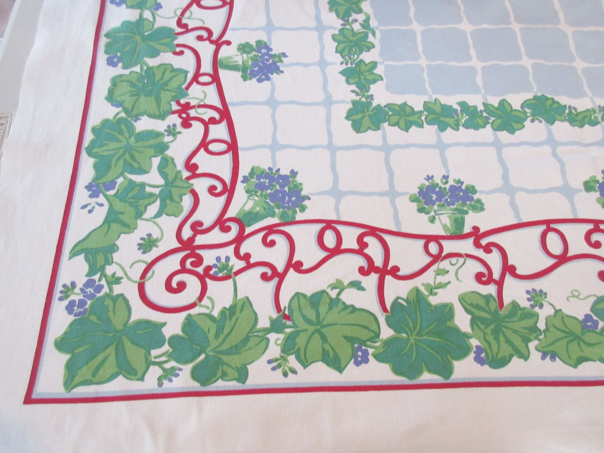African Violets on Blue Parisian Prints Floral Vintage Printed Tablecloth (52 X 49)