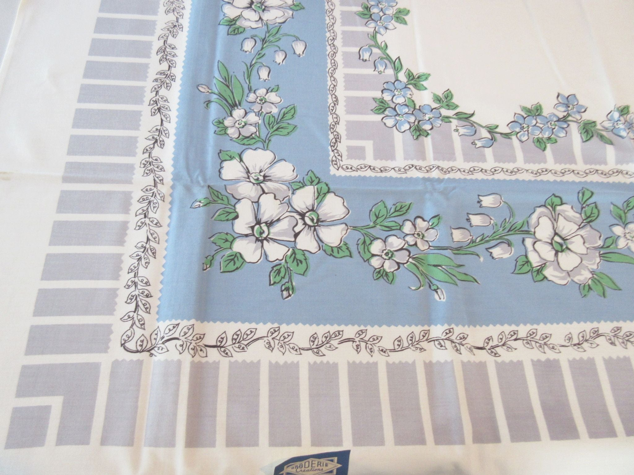 Blue Flowers on Gray Broderie NWT Floral Vintage Printed Tablecloth (51 X 50)