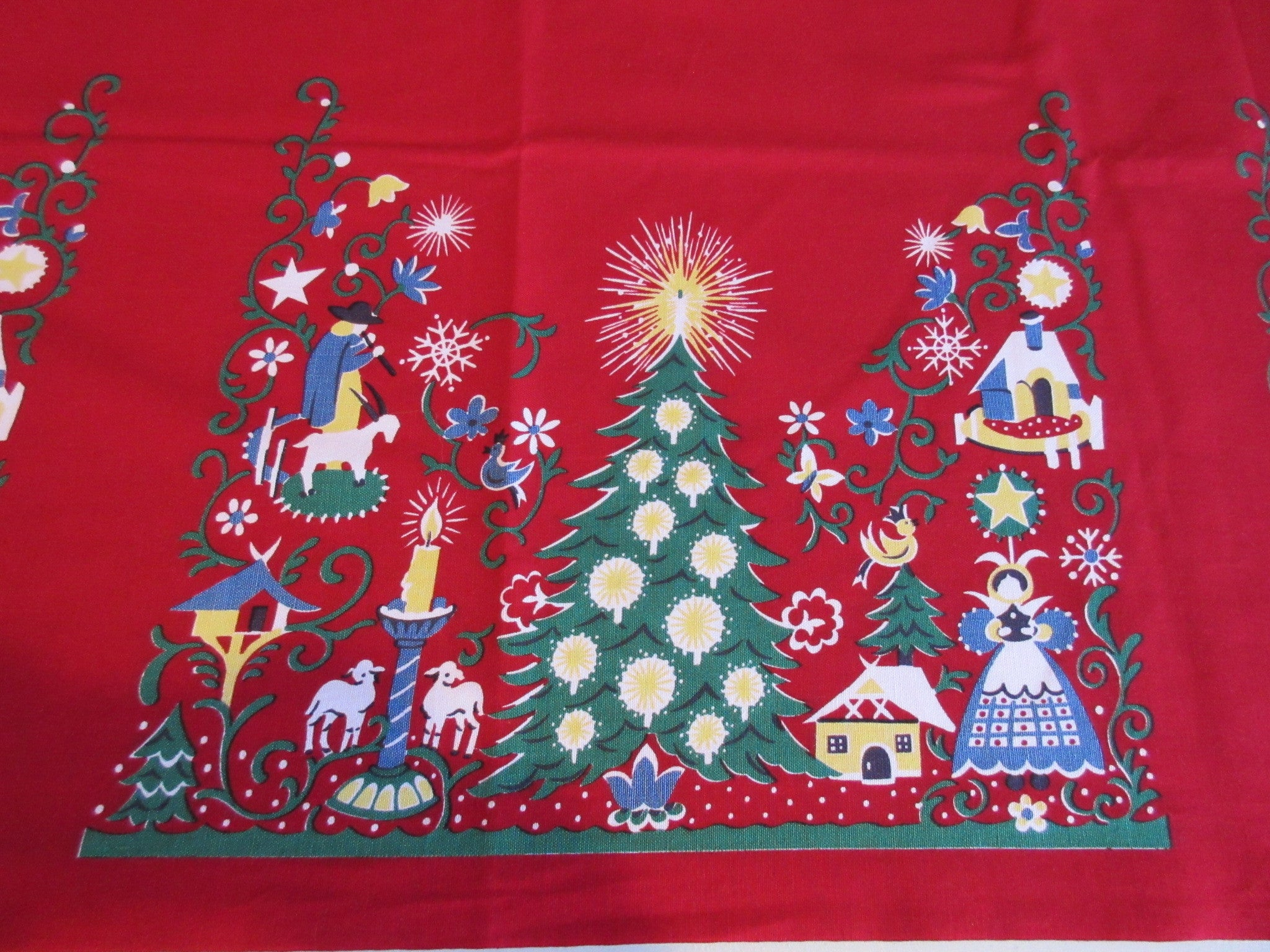 Red Wilendure Christmas Folkart Selvedge Novelty Vintage Printed Tablecloth (55 X 52)
