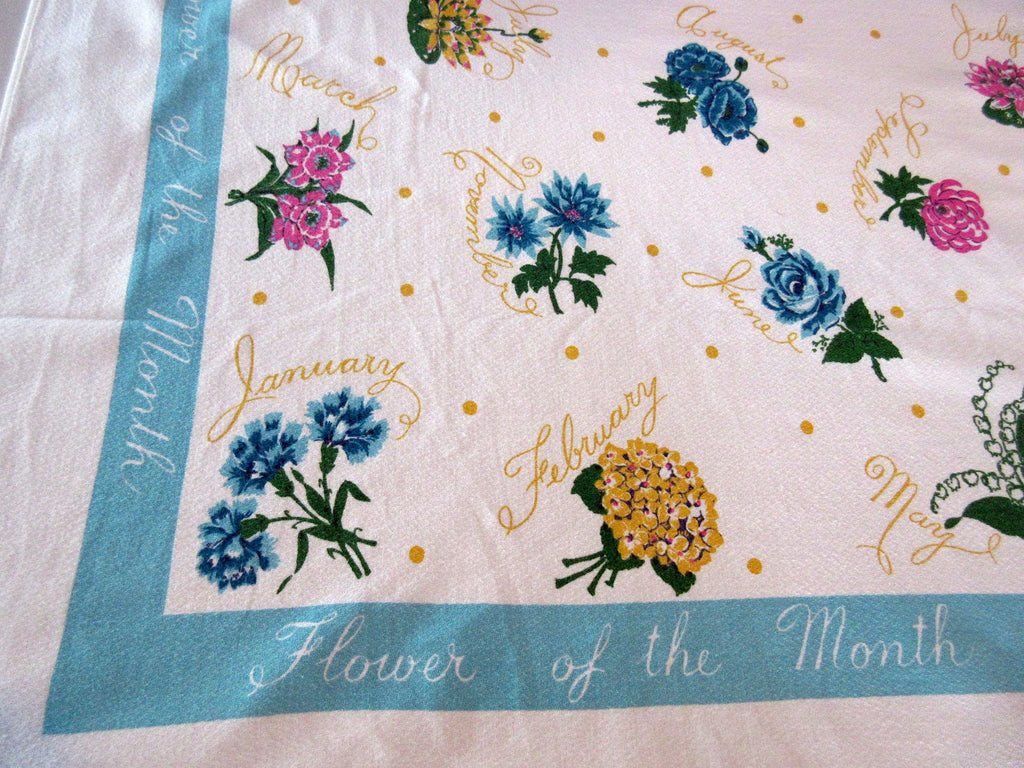 Larger Flower of the Month on Turquoise Floral Vintage Printed Tablecloth (63 X 53)