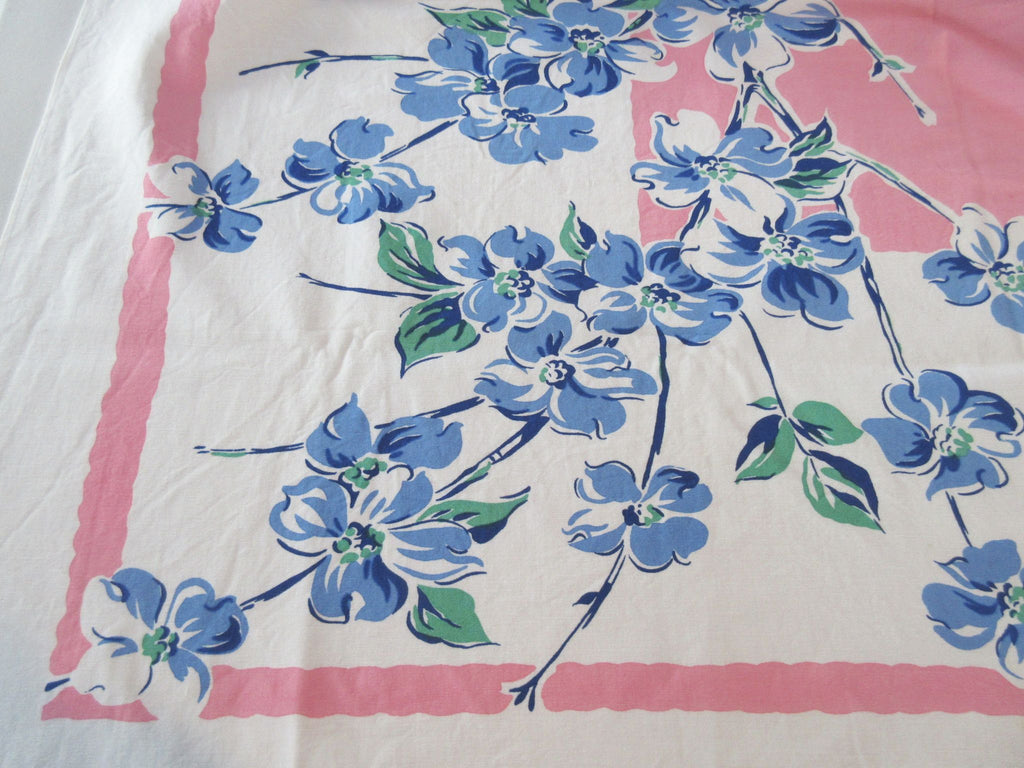 Blue Green Dogwood on Pink Floral Vintage Printed Tablecloth (49 X 42)