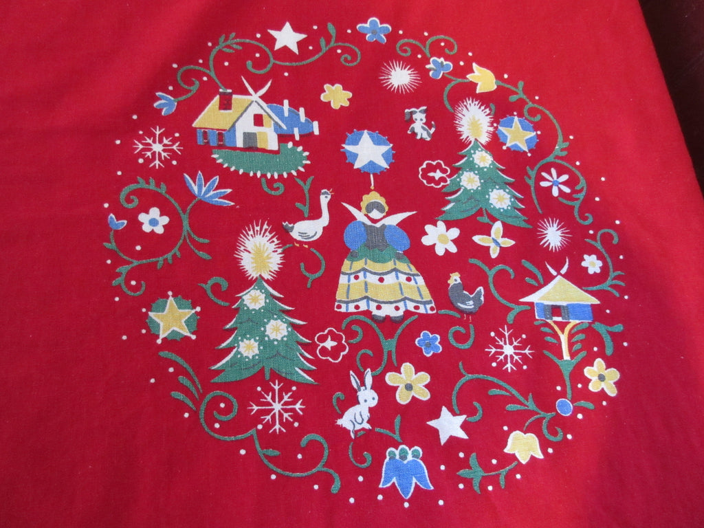 Large Red Wilendure Christmas Folkart Array Novelty Vintage Printed Tablecloth (86 X 60)