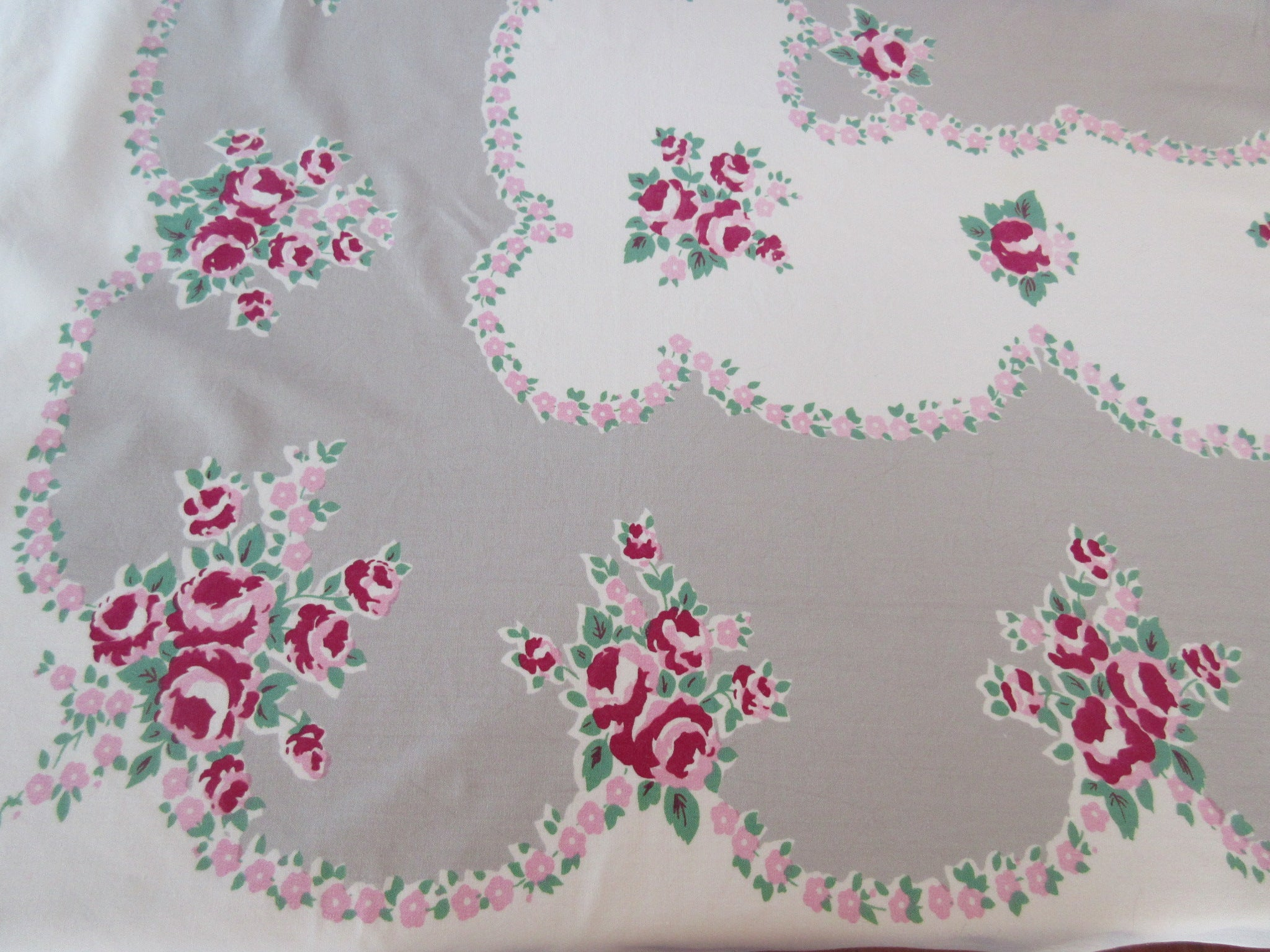 Smudgy Pink Green Roses on Gray Floral Vintage Printed Tablecloth (62 X 52)