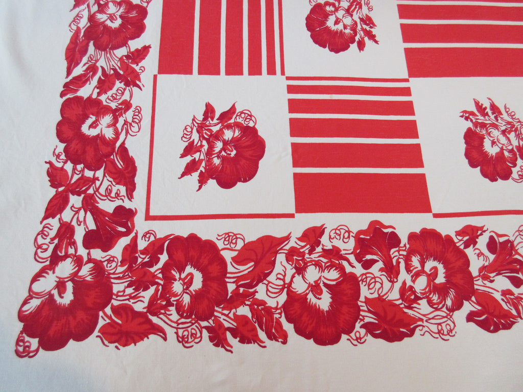 Scarlet Red Morning Glories Squares Floral Vintage Printed Tablecloth (70 X 62)