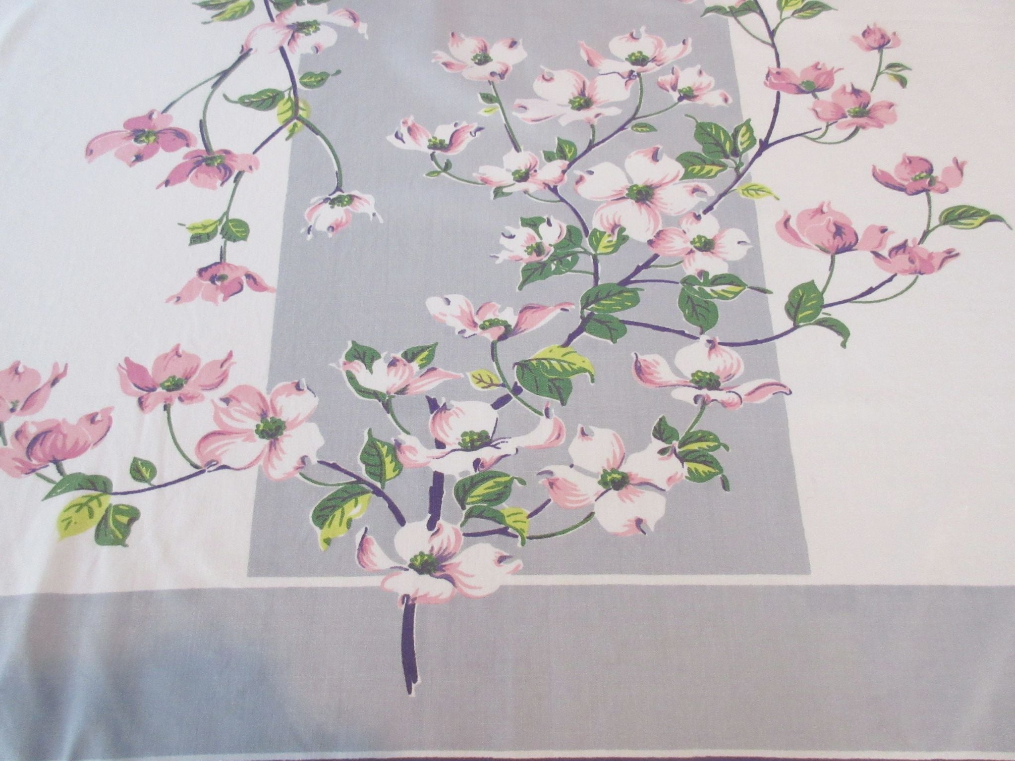 Pink Dogwood on Silver Gray Stripe Floral Vintage Printed Tablecloth (52 X 45)