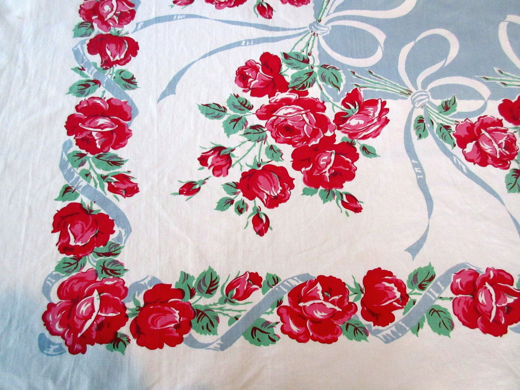 Heavy Pink Roses on Silver Ribbons Floral Vintage Printed Tablecloth (50 X 46)