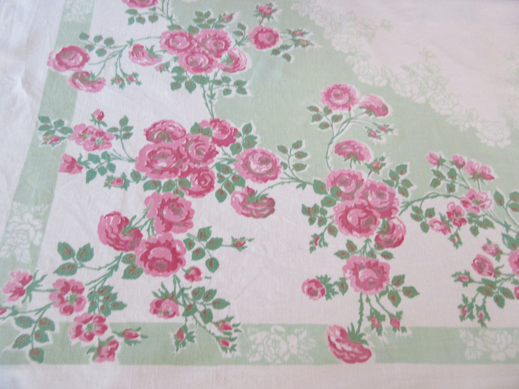 Faded Pink Roses on Jadite Green Floral Vintage Printed Tablecloth (52 X 46)