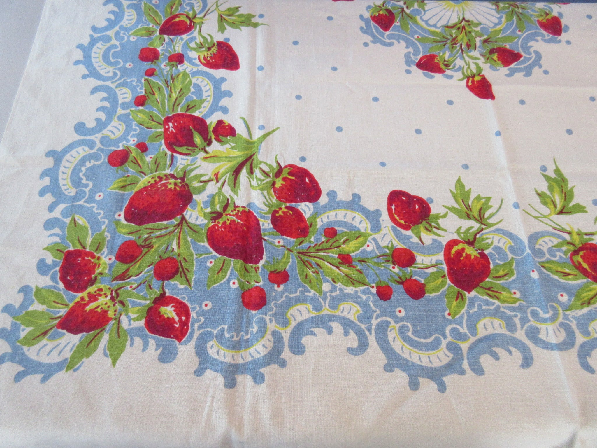 Strawberries on Blue Lace Linen Fruit Vintage Printed Tablecloth (53 X 49)