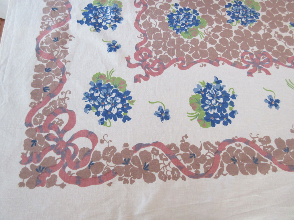 Early Blue Violets on Tan Floral Vintage Printed Tablecloth (65 X 50)