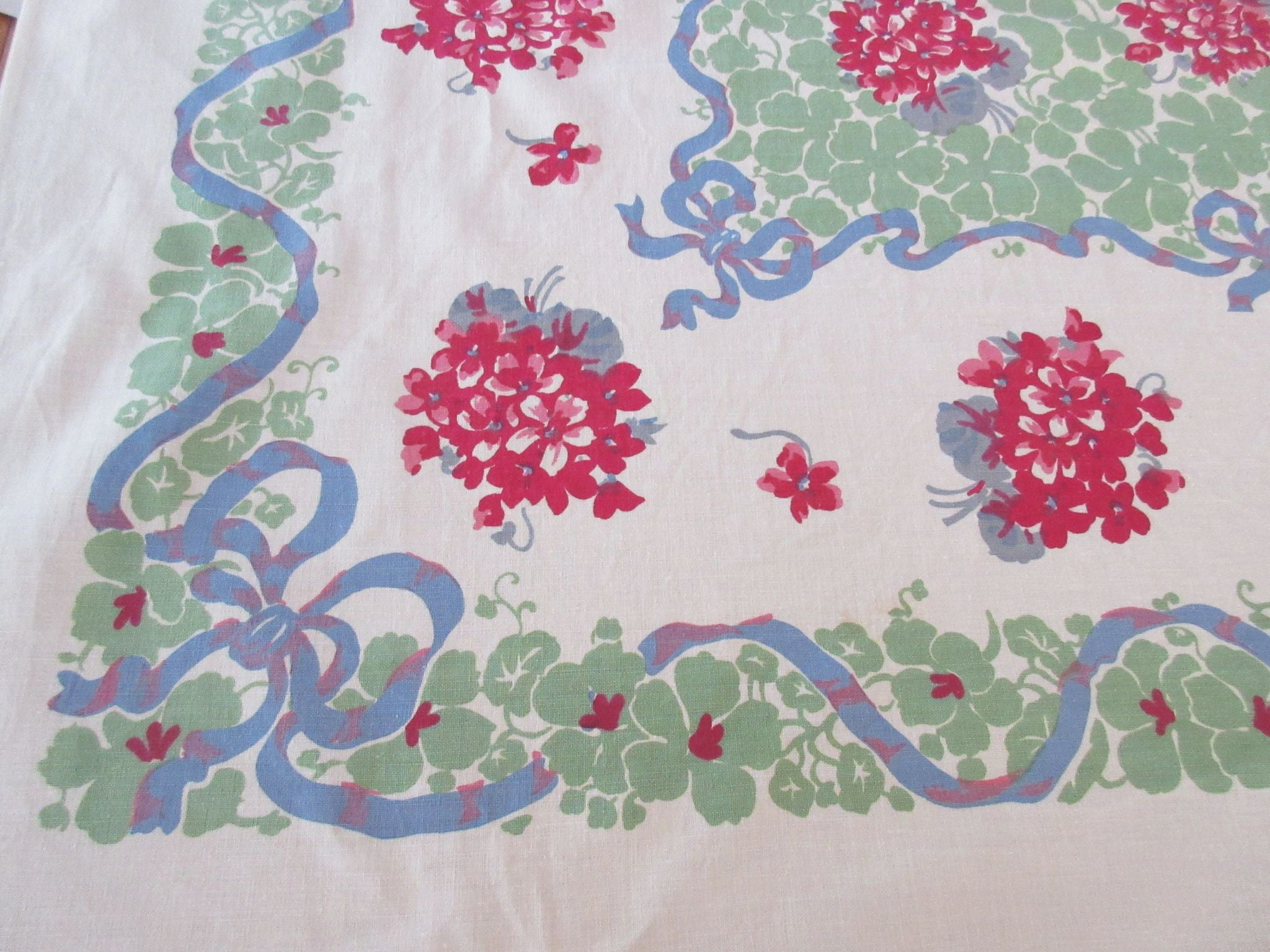 Bestest Ever Primary Violets on Green Floral Vintage Printed Tablecloth (66 X 50)