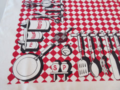 Black Red Kitchen Canisters Simtex Novelty Vintage Printed Tablecloth (51 X 47)