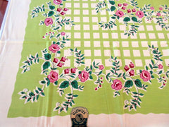 Pink Roses on Lime Green Glowtex MWT Floral Vintage Printed Tablecloth (52 X 49)