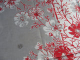 Red Gray Cosmos Floral MWT Vintage Printed Tablecloth (52 X 51)