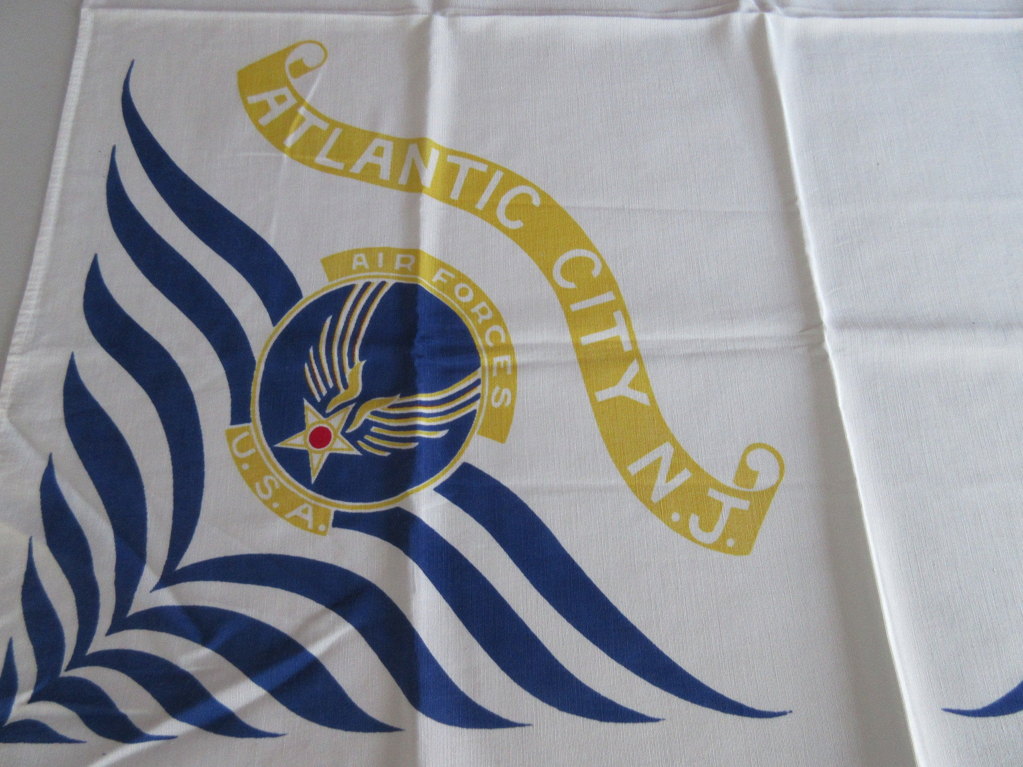 Atlantic City New Jersey Naval Air Station Souvenir Vintage Printed Tablecloth (36 X 34)