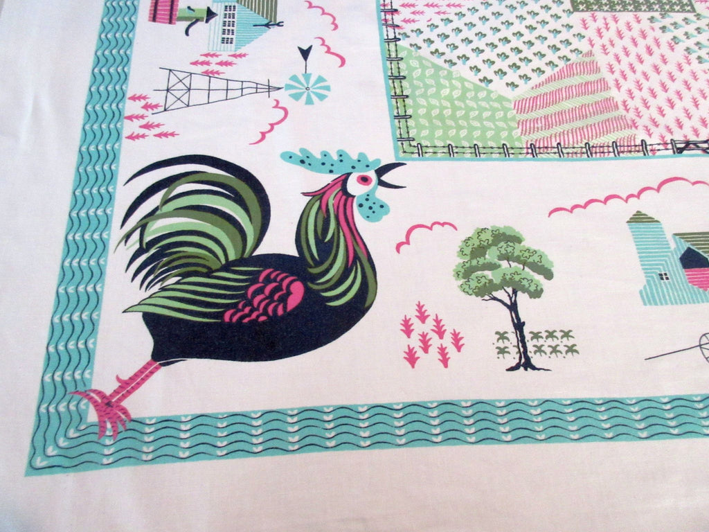 Rooster Farms Pinwheel Aqua Novelty Vintage Printed Tablecloth (54 X 47)