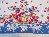 Large Bright Fruit on Blue Ribbons Vintage Printed Tablecloth (74 X 57)