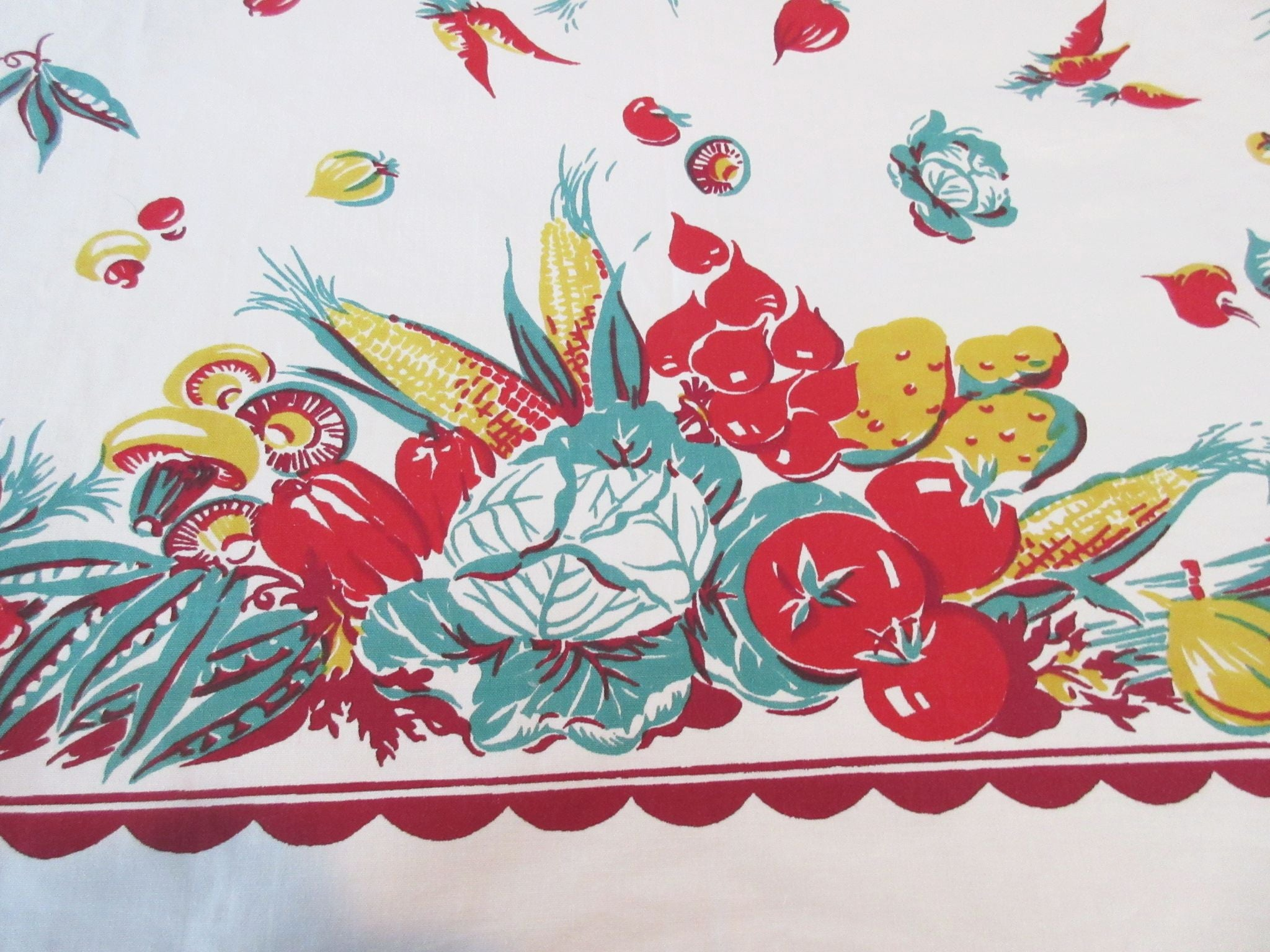 Victory Garden Veggies Vegetables Vintage Printed Tablecloth (52 X 46)