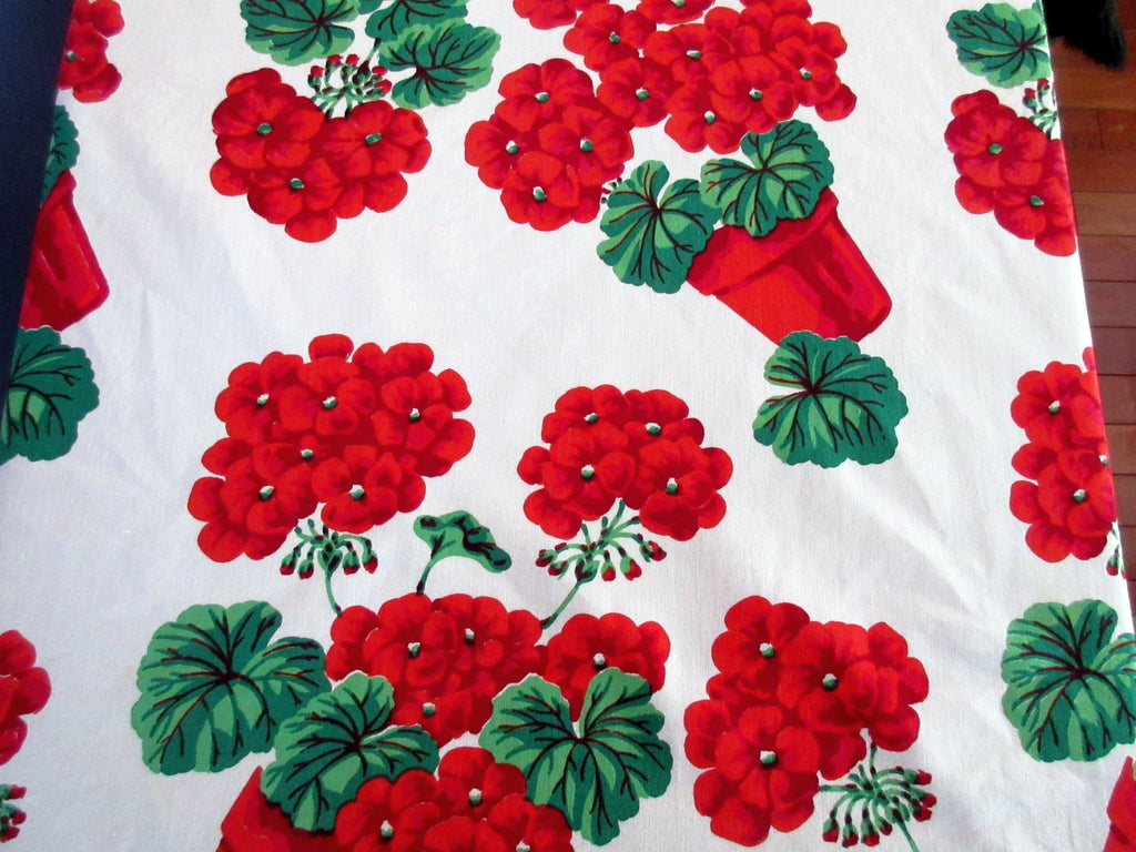 Large Bright Red Geraniums in Pots Floral Vintage Printed Tablecloth (87 X 52)