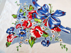Red Hibiscus Blue Ribbons Linen Floral Vintage Printed Tablecloth (65 X 49)