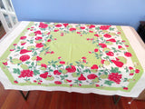 Smaller Red Fruit on Lime Sheeting Vintage Printed Tablecloth (45 X 43)