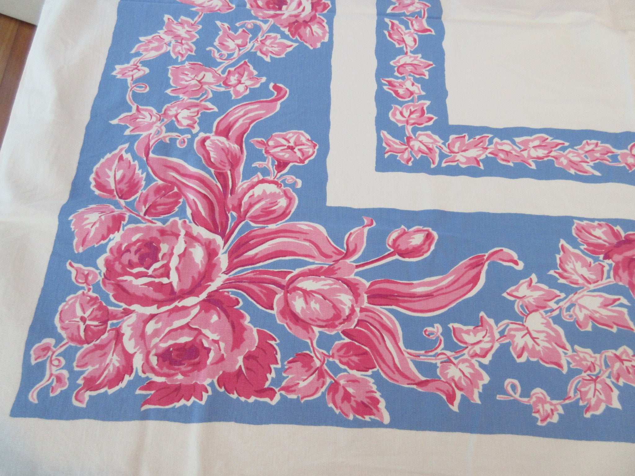 Pink Tulips Roses on Blue Cutter? Floral Vintage Printed Tablecloth (52 X 42)