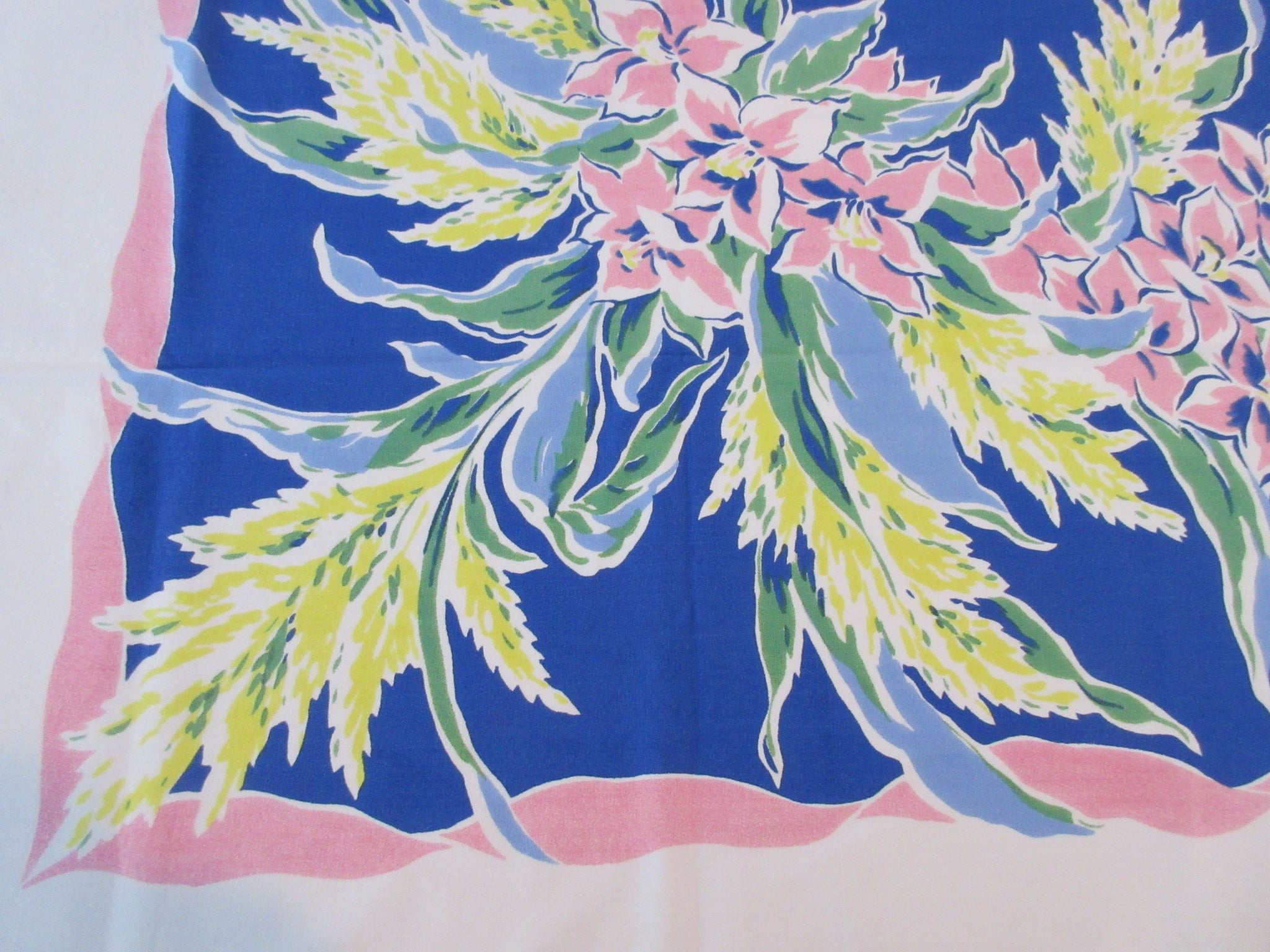 Pink Pastel Flowers on French Navy Cutter? Floral Vintage Printed Tablecloth (58 X 51)