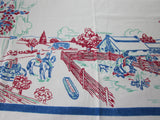 Rare American Vacation Ranch Beach Novelty Vintage Printed Tablecloth (48 X 48)