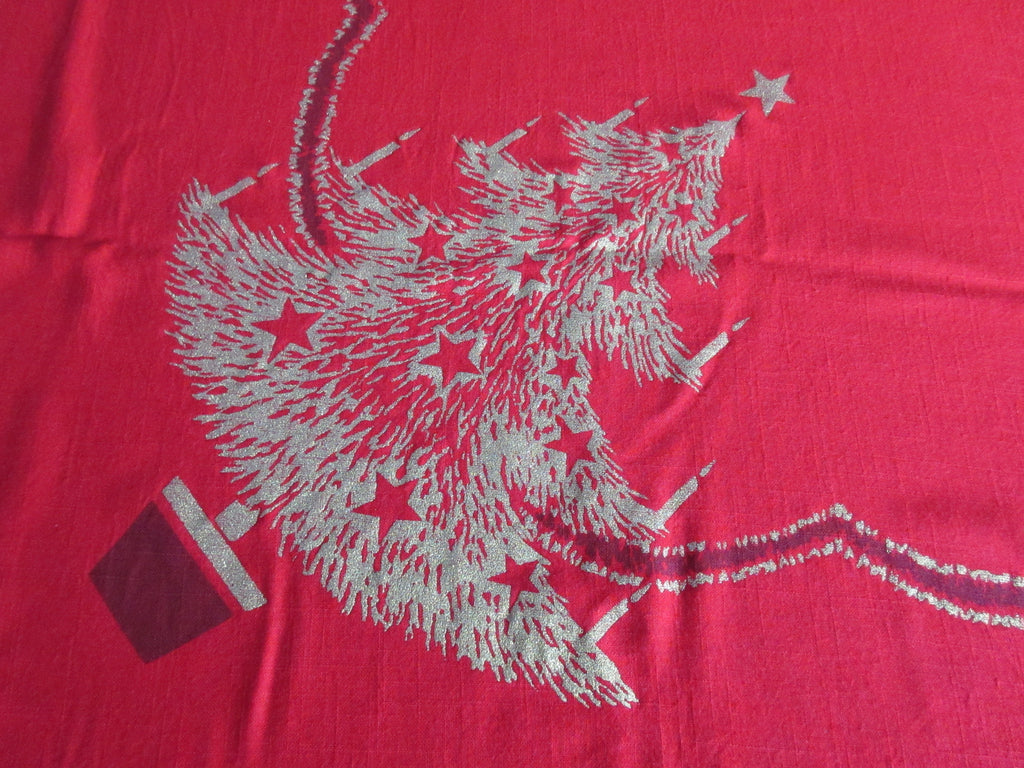 CHP Gold Christmas Trees on Red Vintage Printed Tablecloth (79 X 58)