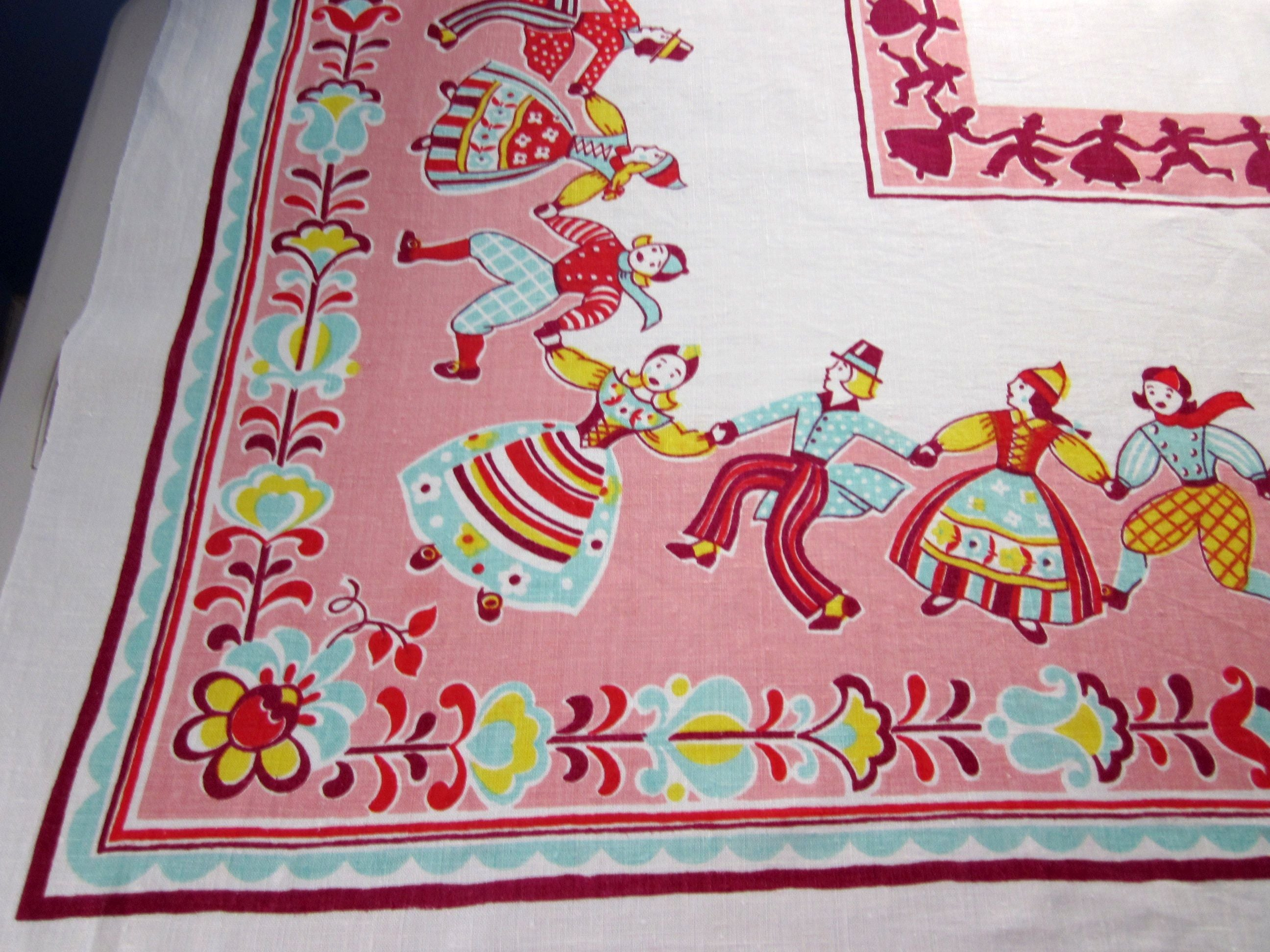 Pastel Dancing Dutch Children on Pink Linen Novelty Vintage Printed Tablecloth (52 X 51)