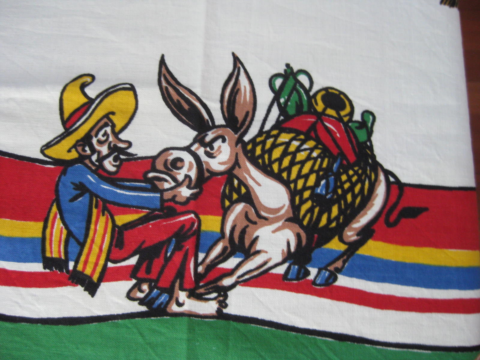 Cartoon Mexican MWOT Novelty Vintage Printed Tablecloth (50 X 49)