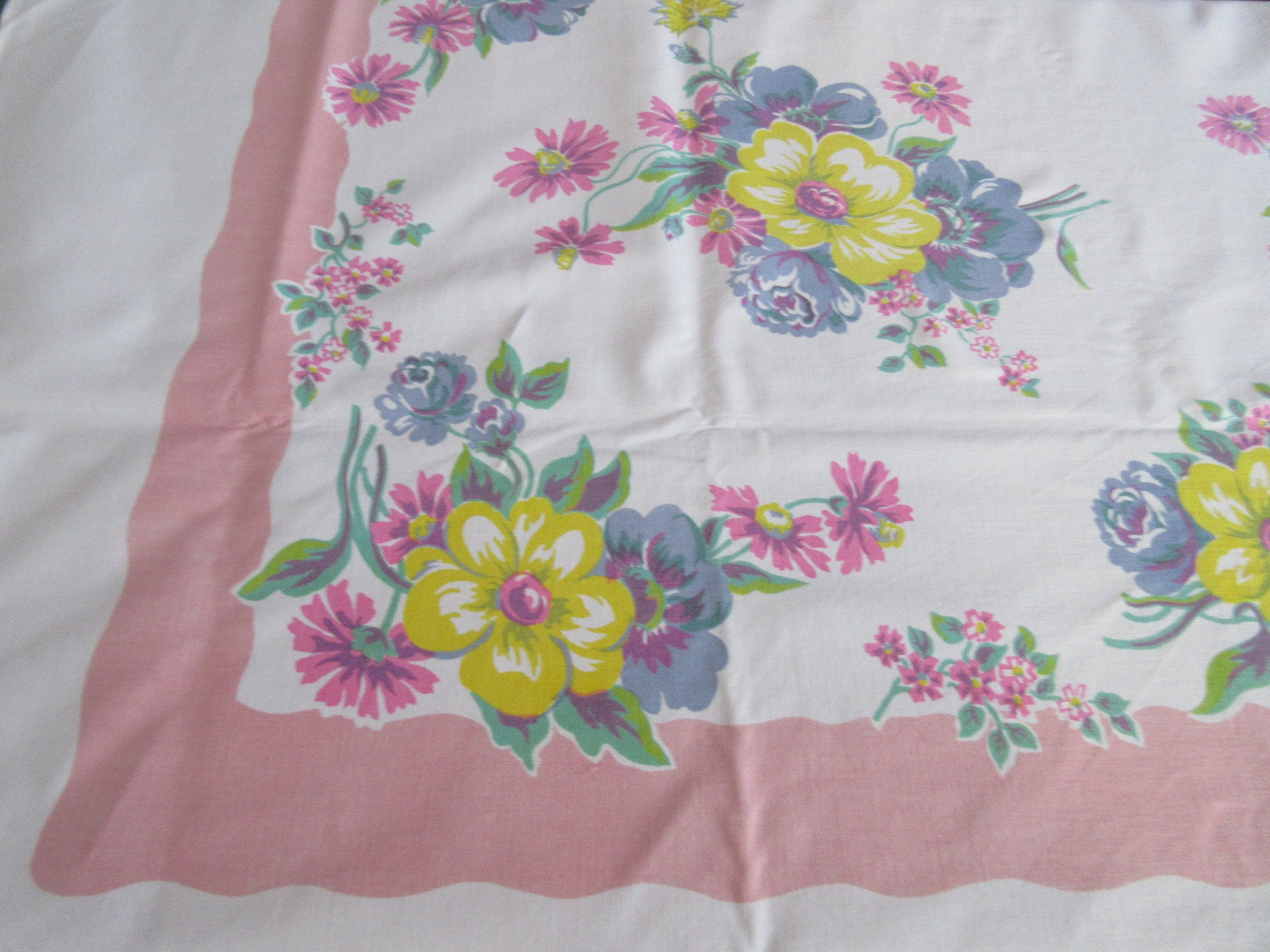 Big Pink Yellow Blue Pastel Floral Vintage Printed Tablecloth (70 X 58)