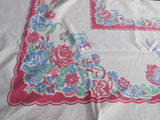 Shabby Primary Floral on Red Vintage Printed Tablecloth (69 X 54)