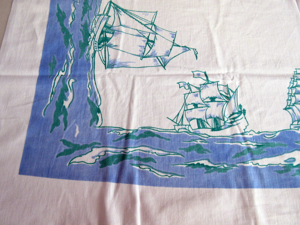 Sailing Ships Nautical Blue Green Novelty Vintage Printed Tablecloth (52 X 48)