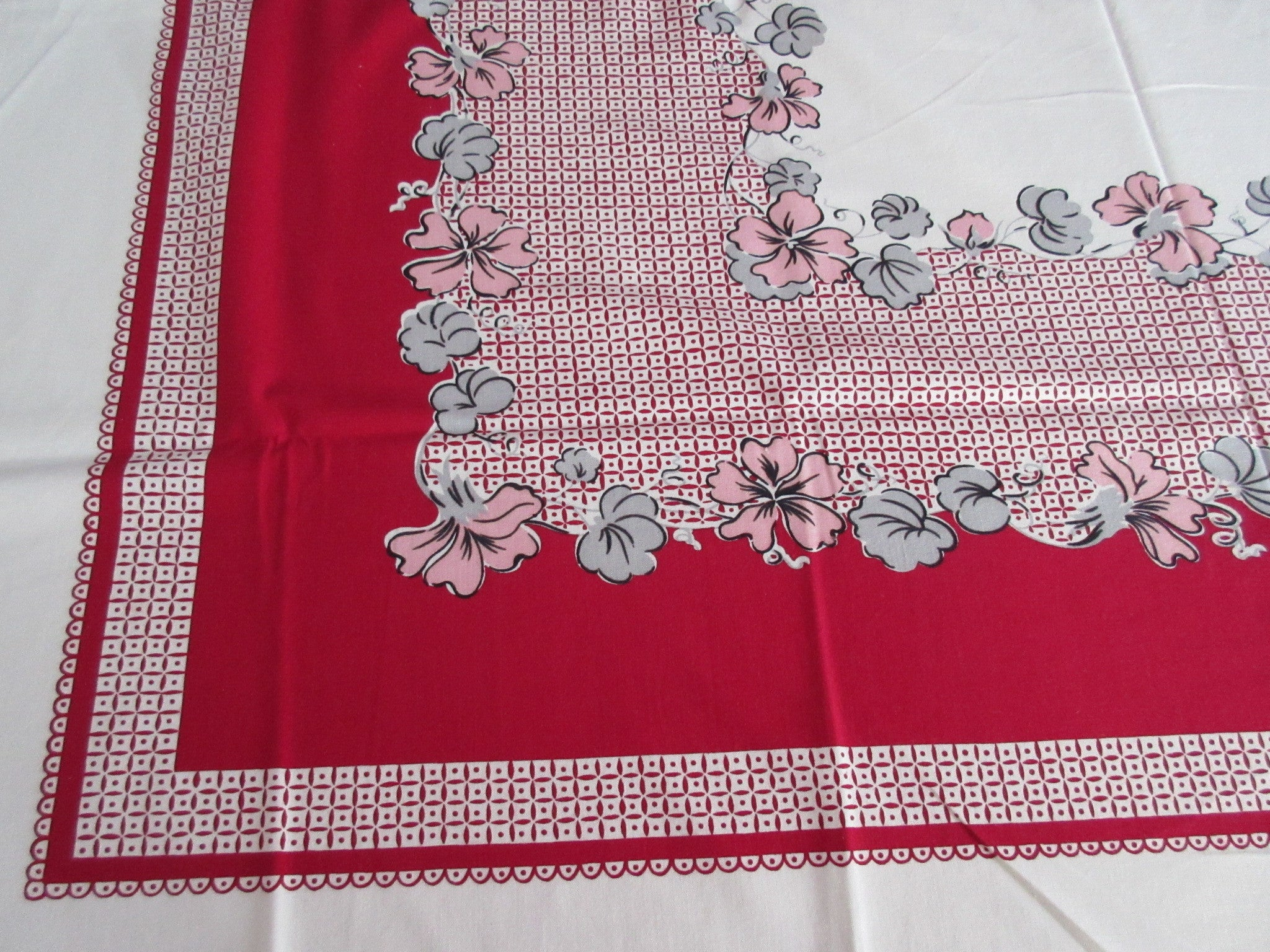 Pink Gray Nasturtiums on Red Floral Vintage Printed Tablecloth (52 X 47)