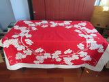 Grapes Reverse Printed on Red Fruit Vintage Printed Tablecloth (56 X 47)