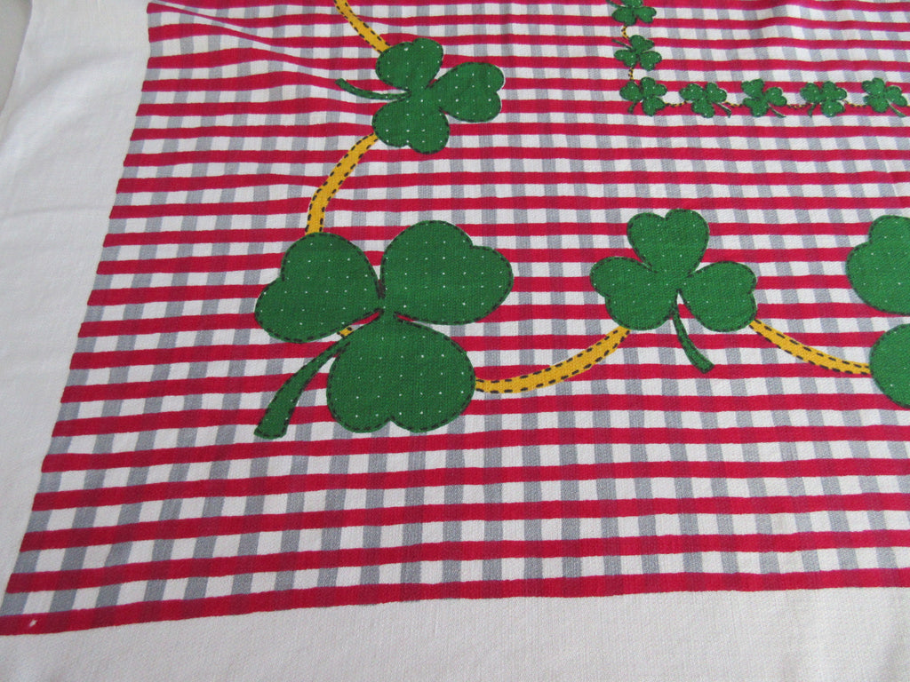 Green Shamrocks Clover Leaf Red Gray Plaid Novelty Vintage Printed Tablecloth (49 X 45)