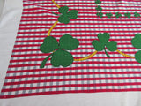 Green Clover Leaf Red Gray Plaid Novelty Vintage Printed Tablecloth (49 X 45)