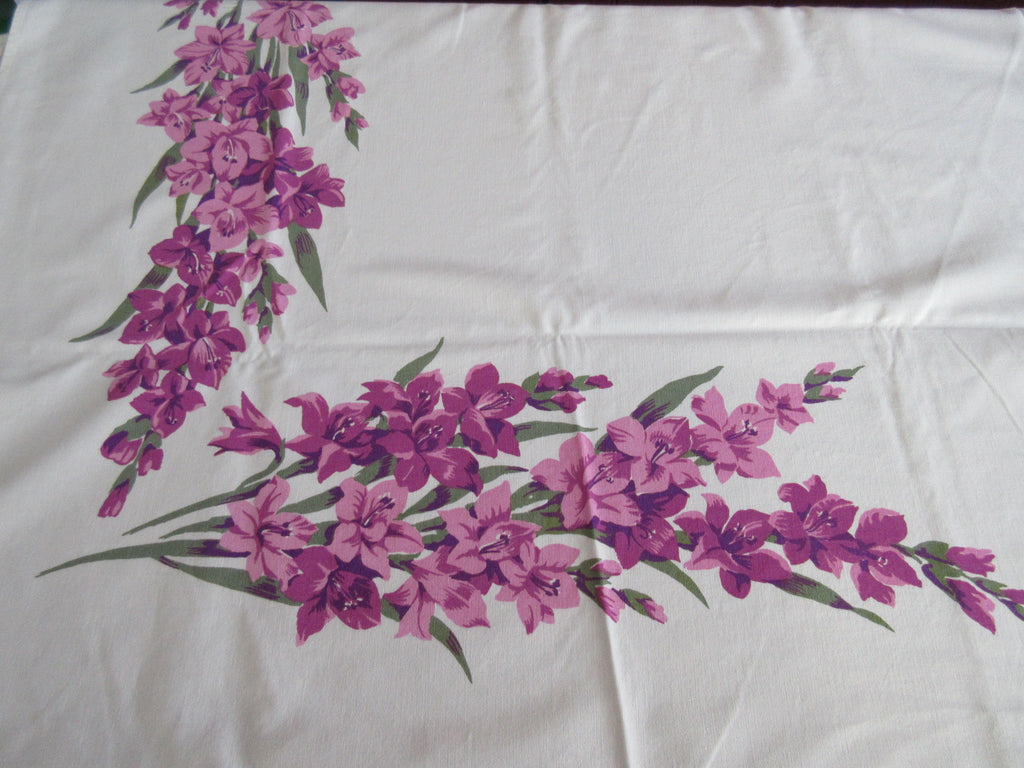 Wilendure Purple Gladioli Floral Vintage Printed Tablecloth (67 X 53)