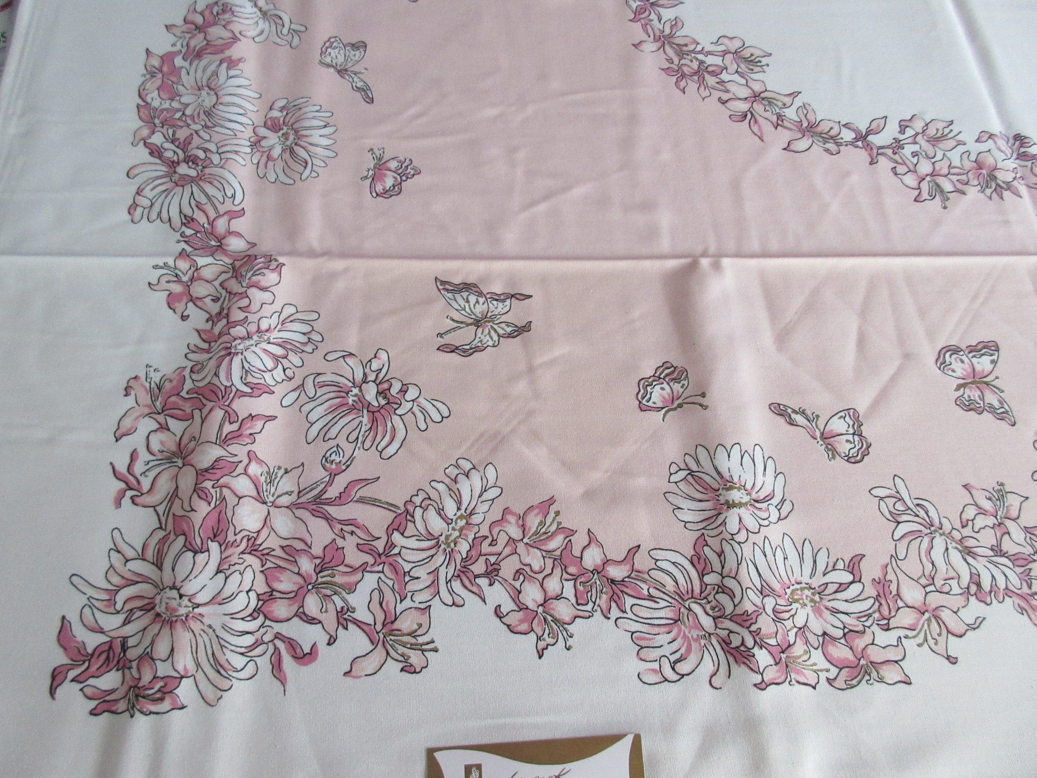 Pink Peach Gold Daisies MWT Napkins Box Floral Vintage Printed Tablecloth (70 X 51)