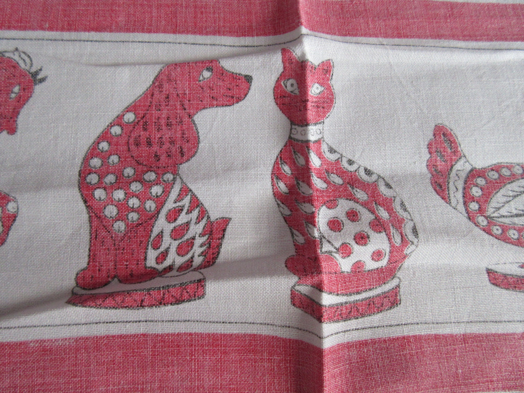 Fun Animal Dog Cat Statues Linen Novelty Vintage Printed Tablecloth (50 X 48)