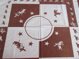 HTF Horses Cowboys Beaumont Texas Spindletop Novelty Vintage Printed Tablecloth (45 X 41)