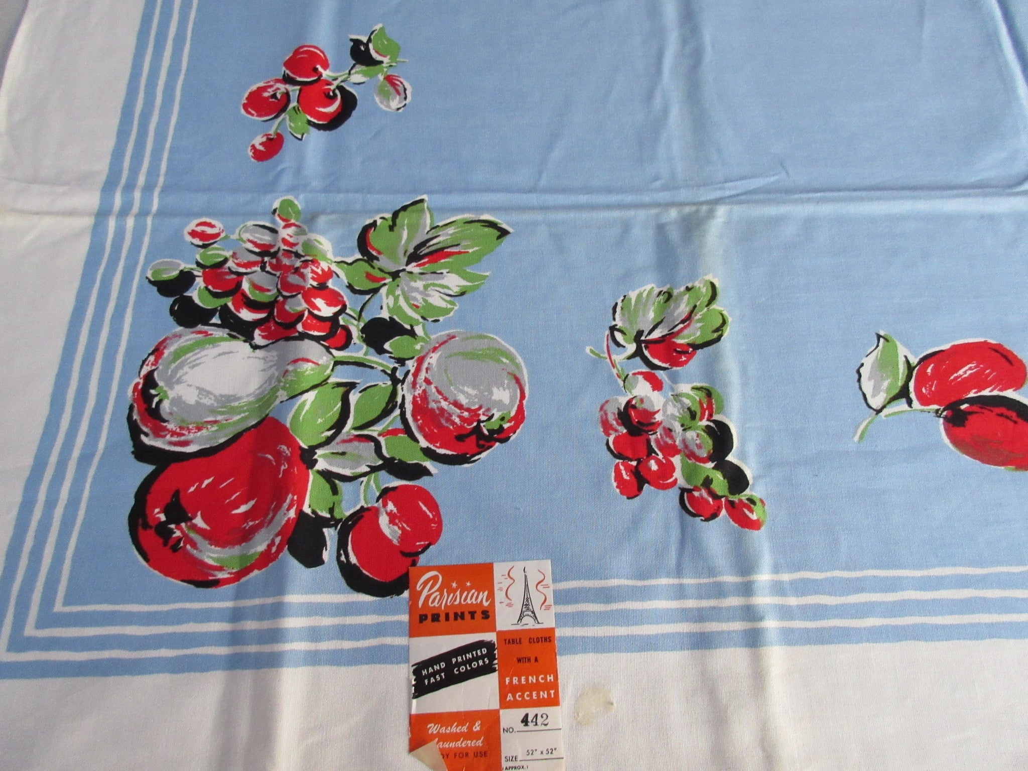 Bright Fruit on Blue Parisian Prints MWT Vintage Printed Tablecloth (51 X 50)