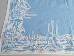 Cactus Cacti Saguero Desert on Blue Topper Novelty Vintage Printed Tablecloth (36 X 31)