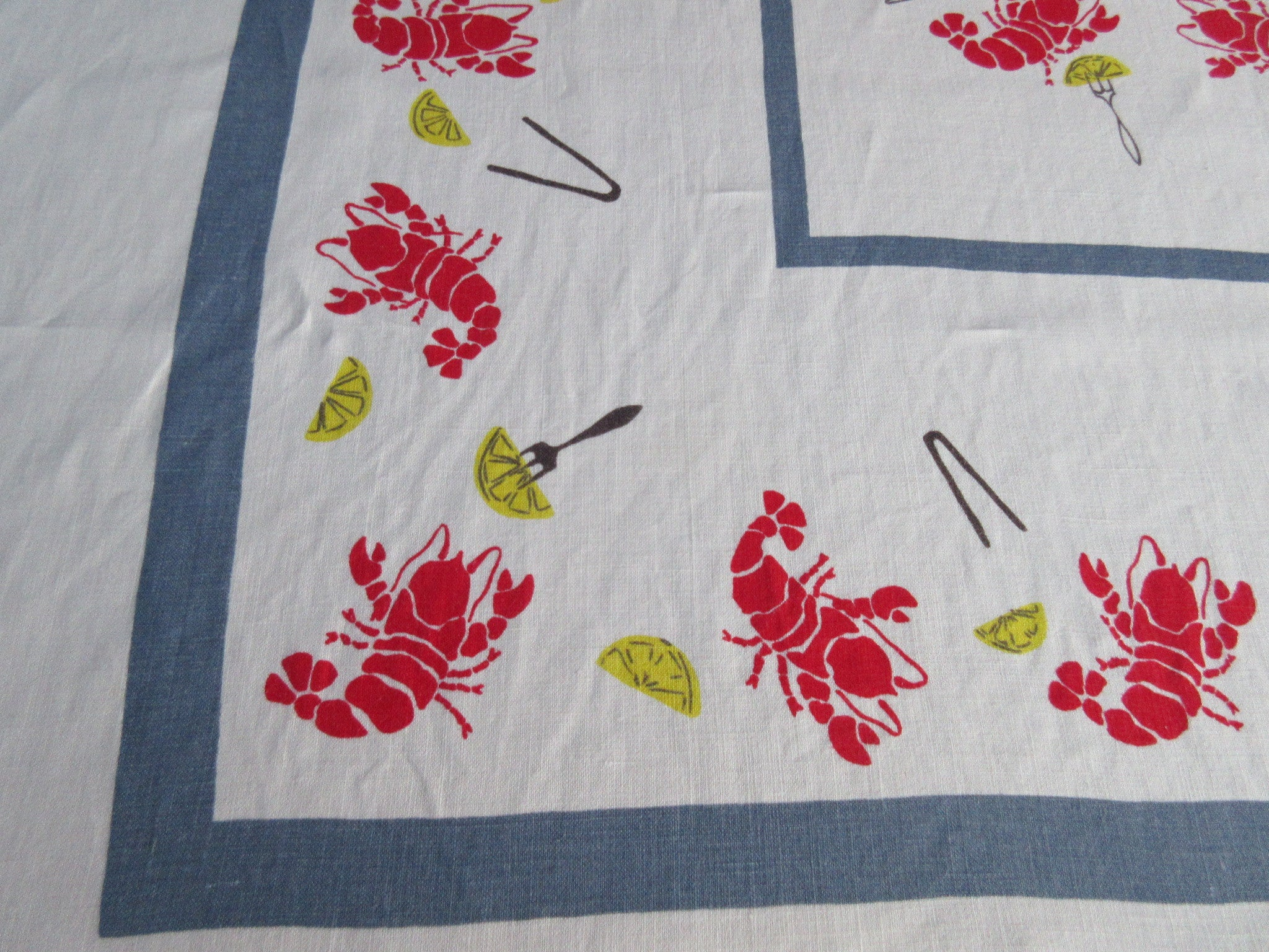 HTF Dancing Lobsters Lemons on Blue Linen Novelty Vintage Printed Tablecloth (66 X 51)