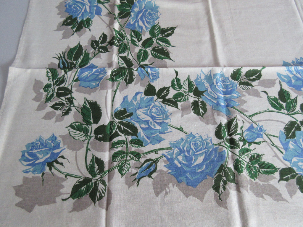 Blue Green Roses Linen Floral MWT Vintage Printed Tablecloth (50 X 49)