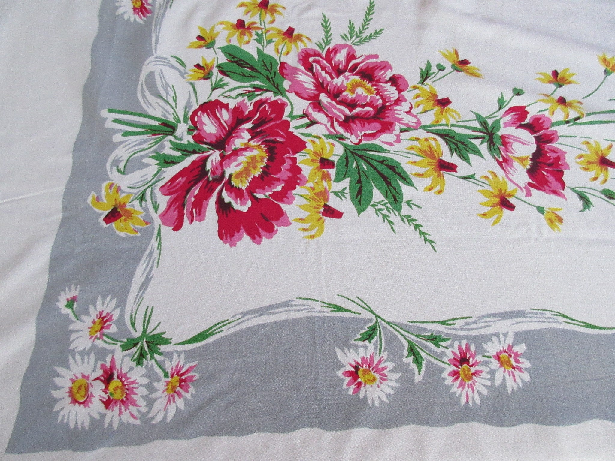Large Pink Green Peonies on Gray Offset Floral Vintage Printed Tablecloth (71 X 63)
