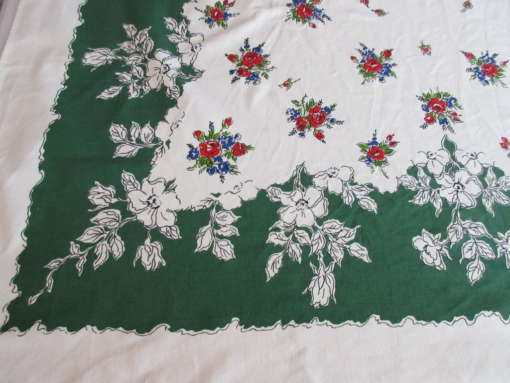 Primary Red Blue Roses on Forest Green Floral Vintage Printed Tablecloth (64 X 54)