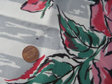 Mod Pink Green Roses on Gray MWT Floral Vintage Printed Tablecloth (52 X 50)
